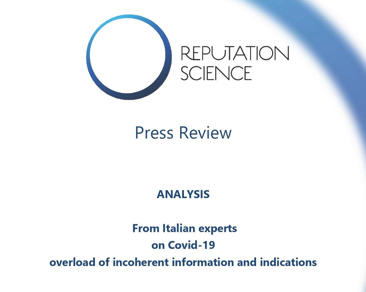 Infodemia Covid19. Analisi Reputation Science – RASSEGNA STAMPA